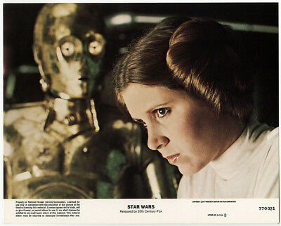1977 Star Wars Film A New Hope Carrie Fisher/Princess Leia C3PO Photograph