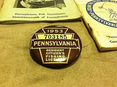 Old Vintage Fishing License Button Pin 1953 Pennsylvania Resident Citizens  67'