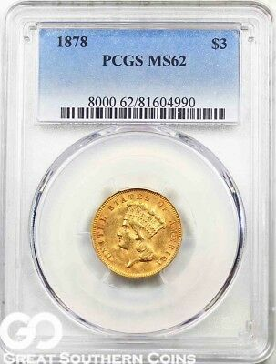 1878 PCGS Three Dollar Gold, $3 Indian Princess PCGS MS 62 ** Super Nice Luster!