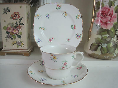 Pretty Vintage Colclough Tiny Floral Posies Fine Bone China Trio