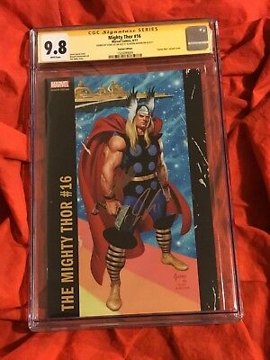 Cgc Ss 9.8~Mighty Thor #16~Jusko Corner Box Variant~Signed Stan Lee+Jason Aaron~