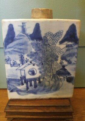 19 C. Old Antique Chinese Blue White Porcelain Tea Caddy With Calligraphy