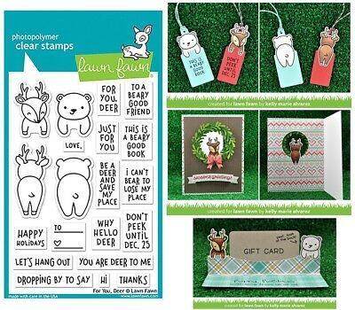 Lawn Fawn For You Deer Stamps & Dies - Christmas Tags, Bookmarks, Reindeer, Bear