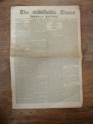 ANTIQUE 1878 NEWSPAPER THE TIMES LONDON WEEKLY EDITION - incl. Cleopatras Needle