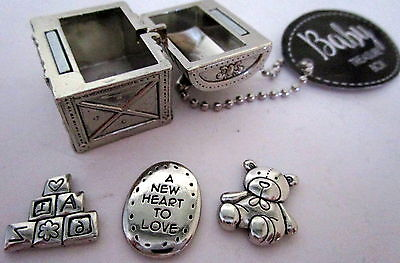"2.5 X 2Cm Silver ""baby"" Treasure Box With 3 Little Charms Beautiful Keepsake Bn"