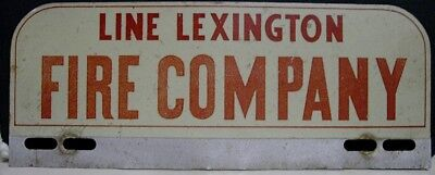 1950's Line Lexington Fire Co. License Plate Topper - Line Lexington, PA