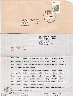 1977 Royal Visit of QE2 to Australia group of 3 commemorative covers & letter