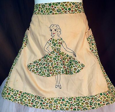 Vintage Feedsack Flour Sack Cotton Print Novelty Risque Circle Skirt Half Apron