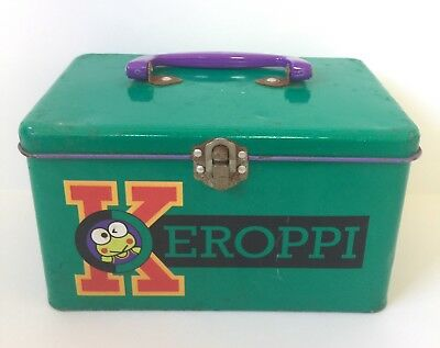 Vintage Sanrio 1993 Kero Keroppi Frog Tin Box Pail With Handle