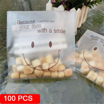 100 Pcs Candy Plastic Cookie Bags Self-adhesive Smile Face Baking Packaging