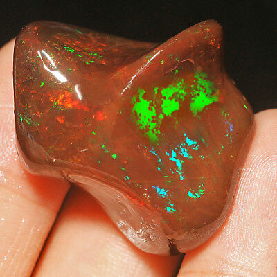 69.6CT Natural Polished Ethiopian Black Chocolate Opal Nugget Carved Cab YMQg18