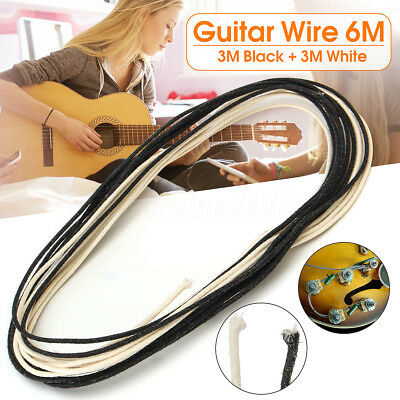 6M Cotton Cloth Covered Waxed 22 AWG Electric Guitar Hook Wire 3M Black+3M White