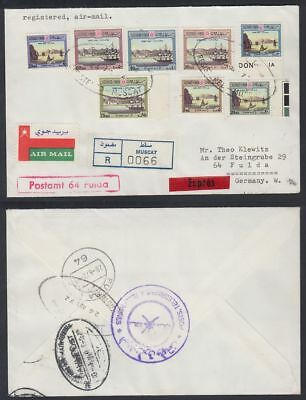 1972 Oman Muscat R-Cover to Germany, Harbour paintings Port [bl0258]