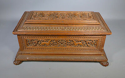 Superb 19Th C. Antique Anglo Indian Carved Sandalwood Casket Mysore