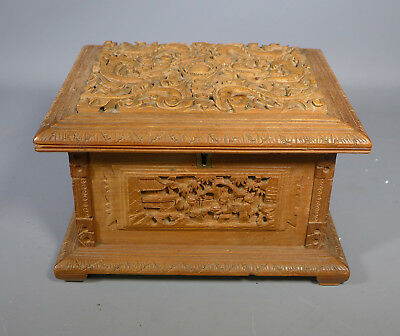 Fine 19Th C. Antique Chinese Canton Carved Sandalwood? Jewellery Box Casket