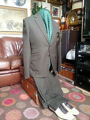 Vintage 1973 Bespoke Tailored Wool Ivy League Mod Northern Soul Ska Suit.Small.