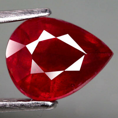 2.24Ct.excellent! Pear Facet Top Blood Red Natural Ruby Madagascar