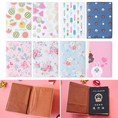 Faux Leather Travel Passport FLOWER Holder Cover ID Card Ticket Enticing Case