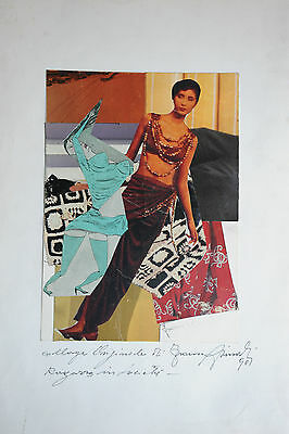 Franco Asinari - Collage Originale - Ragazza In Societa' Del 1990 - Splendido