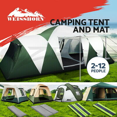 WEISSHORN 4-12 Person Camping Tent Swag Self Inflating Mat Family Hiking Beach
