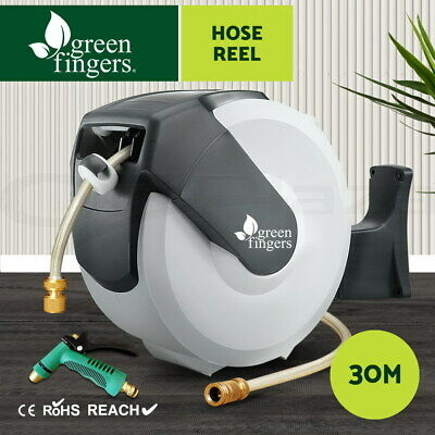 Greenfingers 30M Retractable Garden Water Hose Reel Storage Spray Gun Rewind
