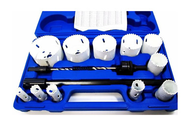 17 Piece Bi-Metal Hole Saw Set Drill Arbour Pilot HSS 16mm - 76mm