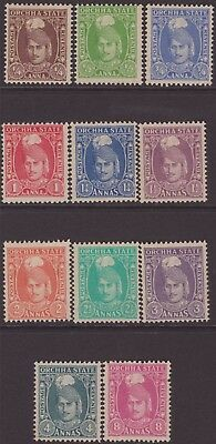 India Feud Orchha 1939-42 SG31-41 Selection 11 VLMM CV£91