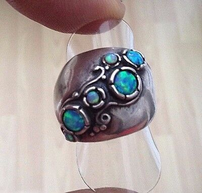Silver Opal Matrix Chunky Ring Fabulous Pretty With Dimples