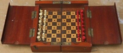 Fabulous Quality Old Foldaway Wooden Cased Travelling Chess Set For Easy Restore