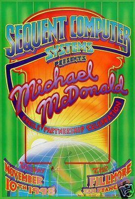 Michael McDonald  FILLMORE POSTER Signed ORIGINAL BILL GRAHAM BGSE8 RandyTuten