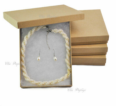 "LOT OF 4 KRAFT COTTON FILLED BOXES JEWELRY BOX NECKLACE SET BOXES 7 1/8""x5 1/8"""