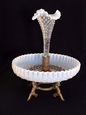 Lovely Victorian Single Horn Diamond Lace Opalescent Epergne With Cupid Base