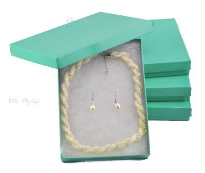 Lot Of 4 Teal Box Green Boxes Cotton Filled Boxes Jewelry Box Necklace Set Boxes
