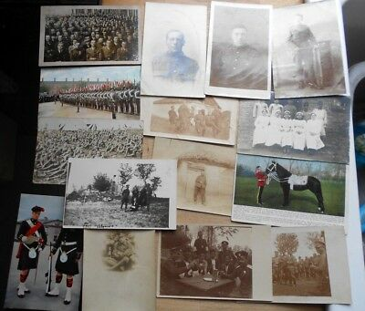 15 x old military postcards, many WW1, soldier officer portraits, RP, job lot