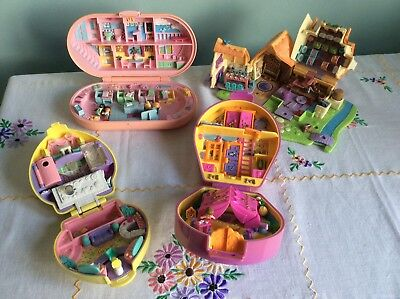 Qty 4 Vintage Polly Pockets. Stamping School, Horseshoe Beauty Spa Snow White