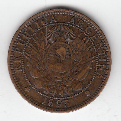 Argentina 2 Cents 1895 Copper Shield         137Z           By Coinmountain