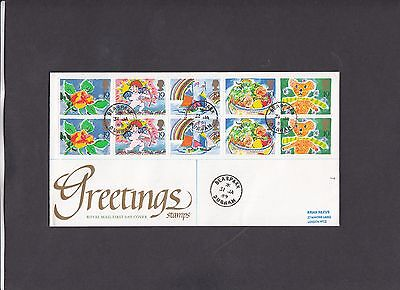1989 Greetings full pane on Royal Mail FDC with Bearpark CDS