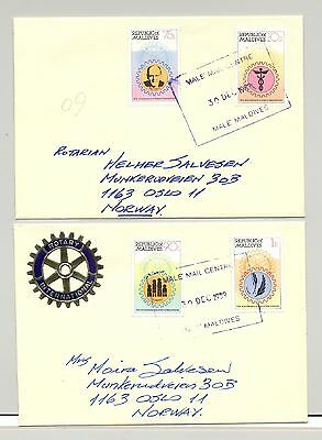 Maldives 1989 Rotary, Polio, Medicine 4v on 2 Covers to Norway (Not FDC)