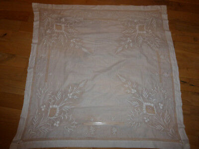 Fine White work embroidered tablecloth, raised work, cut work