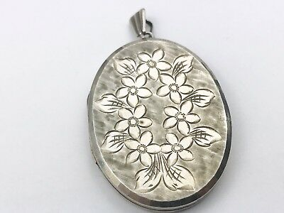 Vintage Solid Silver George Jensen Locket Large Big Photo Pendant Daisy Flowers