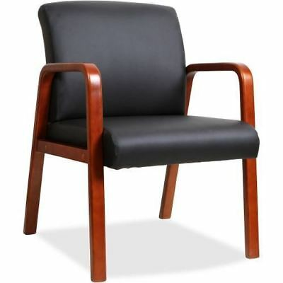 Lorell Black Leather Wood Frame Guest Chair 40200