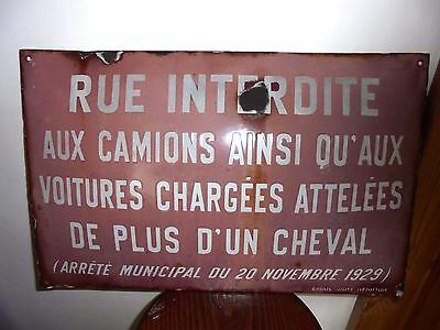 Rare French Enamel Antique Metal Street Sign Vintage road closed