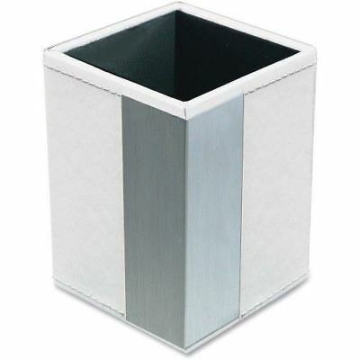 Artistic Architect Line Pencil Cup, White/Silver Metal ART43005WH