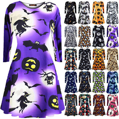 New Women Ladies Long Sleeve Halloween Prints Swing Skater Halloween Dress Plus