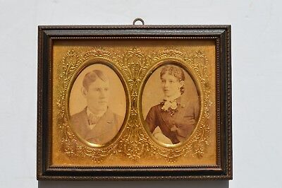 Pretty Antique Victorian Wood & Gilded Brass Picture Frame With Original Photos
