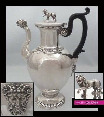 RARE ANTIQUE 1830s SWISS STERLING SILVER COFFEE POT of Empire style 26oz 10,5in.