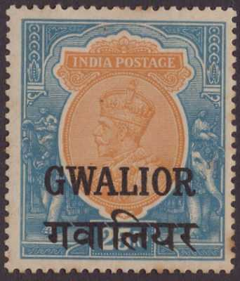 India Conv Gwalior GEOV 1930 SG101 25r Orange & Blue LMM CV£450