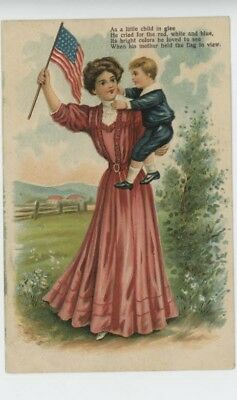 Mr Fancy Cancel Vintage Used Embossed Woman holding Child 1909 Card #1019