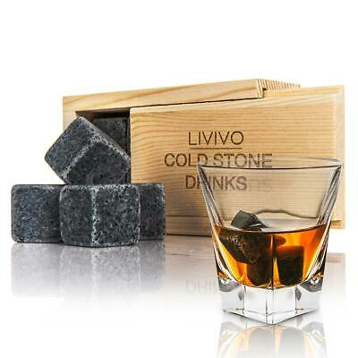 Livivo 8 Whisky Stones Granite Drink Chilling Cooling Ice Stones Wooden Box Gift