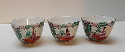 Chinese Rose Medallion Sake Condiment Cups People Peony Set of 3 Marked Bottom